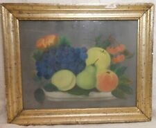 Wonderful Early American Primitive Pastel Fruit Still Life Theorem