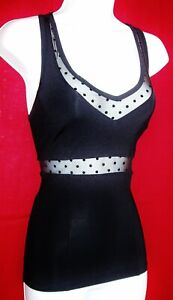 BEBE SPORT WOMEN'S RACER BACK ACTIVE WEAR LOGO TOP BLACK STRETCHY SIZE XS NWT