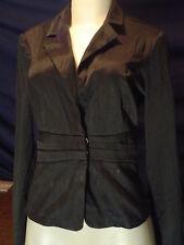 Women's Misses A Byer Size M Black Pinstripe Stretch Blazer EUc
