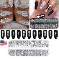 1 Box 3D Glitter Crystal Rhinestone Glass Diamond Gems Jewelry Nail Art Decor-WI