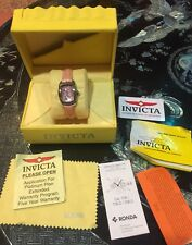 INVICTA LADIES Watch 2152 Box Manuals Cloth Leather Band Pink Face Lupah