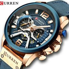 Casual Blue Gold Sports Wristwatch Leather Military Wrist Watch Chronograph Men