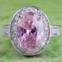 Wedding Band Oval Cut Pink & White Topaz Gemstone Silver Ring Size 7 8 9 10 Gift