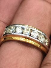 Pave 1,29 Cts Runde Brilliant Cut Diamanten Channel Band Herrenring In 14K Gold