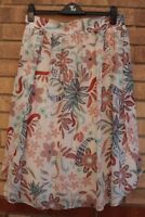 G21 WHITE MULTI COLOUR FLORAL BELTED SPLITS ON THE SIDE A LINE FLIPPY SKIRT L XL