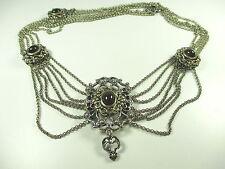 800 Silber Collier Vintage Trachtenschmuck  Halskette Boheme  necklace 1I N4