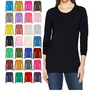 New Ladies Crew Neck Long Sleeve Plain Casual Stretchy Tee Basic Fit Top T-Shirt