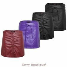 Faux Leather Machine Washable Mini Skirts for Women