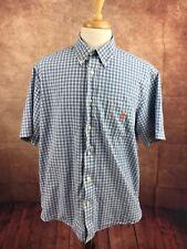 Duck Head 100% Cotton Button Down Short Sleeve Blue Check Shirt Men's L
