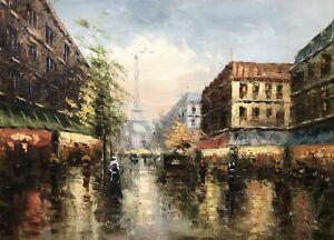 Eiffel Tower,Vintage Paris Street, Original Oil Painting, 51 x 71 cm