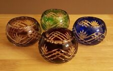 Beautiful Bohemian/Czech Cut to Clear Set of 4 Multi-Colored Glasses