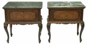Night Stands, Two, Italian Mahogany Green Marble-Top Bedside Cabinets, 1900's!!