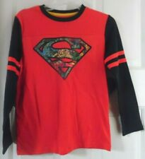 SUPERMAN RED BLACK SUPER HERO LONG SLEEVE BOYS T-SHIRT 10-12 LARGE
