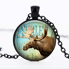 Moose Collage Black Glass Cabochon Necklace chain Pendant Wholesale