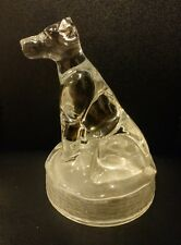 Antique Vintage D'Arques ? Glass Dog Figurine lid style Paperweight Frosted Base