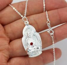 "Solid 925 Sterling Silver, 2 side Figured Buddha Pendant Necklace 18"" + box"