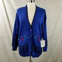 New Vtg Womens Cardigan Sweater Jacket Plus Size 2X 18/20 floral embroidered