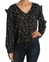 Abound Womens Blouse Black Size Small S Ruffle V-Neck Floral-Print $30 758