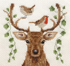DEER, Reindeer & Christmas Robin ~ Full counted cross stitch kit, all materials