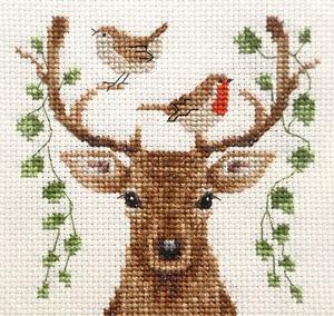 DEER REINDEER Christmas Robin  Full counted cross stitch kit  Fido Stitch Studio