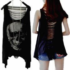 Women Irregular Skull Punk Print Tassel Open back T-Shirt Vest Tank Tops Blouse