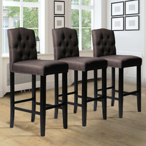 1/2x Bar Stools Wooden High Legs Breakfast Pub Seat Buttoned Back Chairs Kitchen