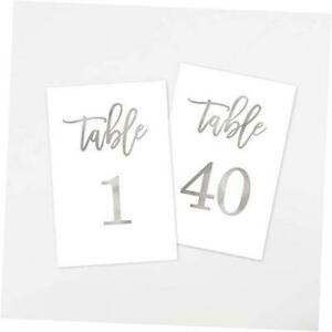 Wedding Table Numbers, 4x6 Calligraphy Foil Design, Double Sided, 1-40 Silver