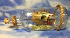 Beautiful Vintage Pokka Lemon Liquor Wooden Ship in a Glass Bottle Figurine Rope