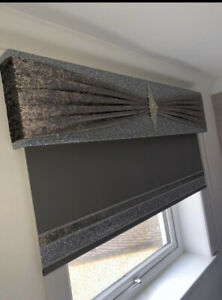 Silver Glitter Padded Window Pelmet with Dark Grey Sash & Brooch