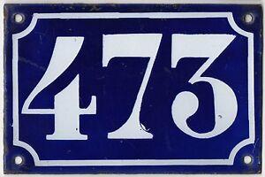 Old blue French house number 473 door gate plate plaque enamel metal sign c1900