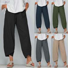 Women Ladies Cotton Linen Baggy Harem Plus Size Trousers Loose Pants UK