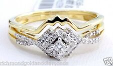 10k Yellow Gold Square Engagement rings Diamonds Ring Band set Promise 0.20 CTW