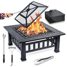 Feuerschale mit Funkenschutz BBQ Grillrost Feuerstelle für den Garten Feuerkorb
