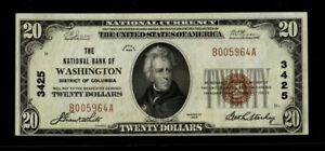 1929 $20 NATIONAL BANK OF WASHINGTON, D.C. NATIONAL CURRENCY CH. #3425 AU