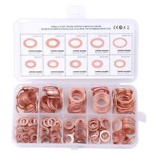 200PCS Copper Washers Gasket Set 9 Sizes Flat Ring Seal Kit W/ Plastic Box