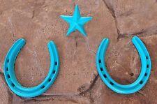 2 Large TURQUOISE Texas HORSESHOES plus one 2.5 NAIL STAR