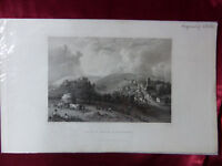 Antique engraving of CASTLE & VILLAGE CARISBROOK, ISLE OF WIGHT c1830 Art print