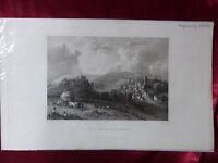 Antique engraving of CASTLE & VILLAGE CARISBROOK, ISLE OF WIGHT c1830 Art print