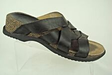 Clarks Sandals Shoes Sz 6 M Black Leather Cork Wedge Heels Strappy Slides