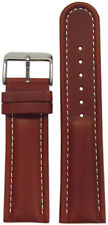 18mm Panatime Med. Brown Padded Saddle Leather Watch Band w/ White Stitch