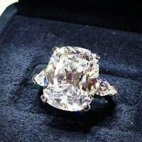 Big Cushion Cut White Sapphire Zircon Rings White Gold Filled Aniversary Jewelry