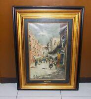 Quadro olio GIULIO DE SIMONE Mercato Parigi OTTIMO 27x43 Painting Paris