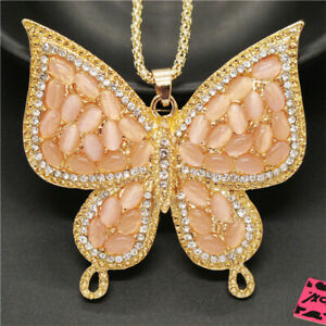 New Betsey Johnson Pink Opal Cute Butterfly Crystal Pendant Chain Necklace