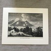1875 Antique Print Iceland Volcano Crater Mount Hekla Icelandic Landscape