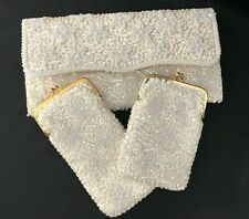 Vintage WOMEN'S WHITE Beaded Clutch Purse/Glass Case/Cigarette Case- Hong Kong