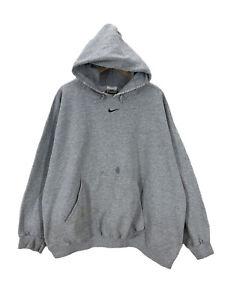 Vintage 90s Nike Center Swoosh Heather Gray Distressed Hoodie Sweatshirt XXL USA
