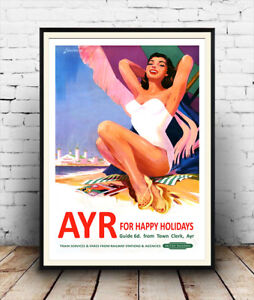 Ayr for Happy Holidays :  Vintage Railway travel advert ,  Poster reproduction.