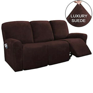 Stretch Suede Recliner Slipcover Fit Furniture Chair Covers for 3-Seater Sofa