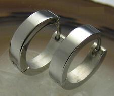 Paar Edelstahl Ohrringe klapp Creolen 16mm silber poliert hochglänzend Piercing