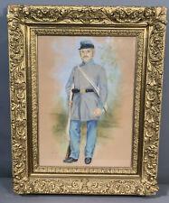 LG 19thC Antique CIVIL WAR SOLDIER Old UNIFORM Pastel PORTRAIT PAINTING & FRAME